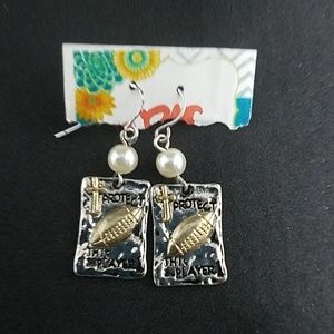Jewelry - Silver & Gold Protect This Player Football Earring